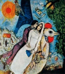 Marc Chagall, Gli sposi della Torre Eiffel, 1938-1939.