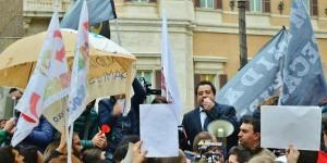 Marcello Pacifico, presidente del sindacato ANIEF, alla manifestazione del 17 marzo 2015, in piazza Montecitorio a Roma.