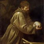 """""""San Francesco in meditazione"""", Caravaggio, olio su tela, cm 128x97."""