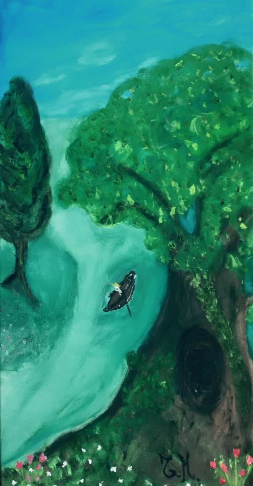 """""""Viaggio in canoa"""", Tiziana Mazzaglia, tempera su tela, cm 30x60 ©Tiziana Mazzaglia"""
