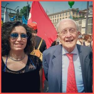 Prof.ssa Sandra Zingaretti e Giudice Ferdinando Imposimato, sciopero del 5 maggio 2015, Roma.