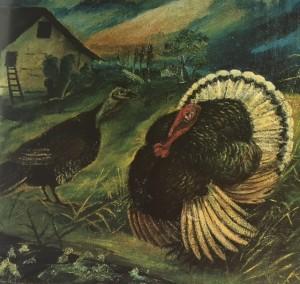 """Antonio Ligabue, """"Tacchini"""" del 1938, olio su compensato, cm 49x59, particolare."""