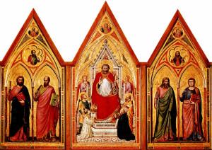 Giotto, Polittico Stefaneschi, 1320, tempera su tavola, 78x89 cm pannello centrale, 168x83 pannelli laterali e 45x83 gli scomparti della predella, Pinacoteca Vaticana.