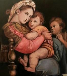 La Madonna della seggiola, (di Raffaello) realizzata da Ariedo Lorenzone, olio su tela 70x70cm, 2015.