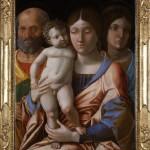 Andrea Mantegna, Sacra Famiglia con una santa, tempera su tela, cm 76×55,5, databile al 1495-1505.