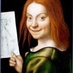 Giovanni Francesco Caroto, Ritratto di giovane con disegno infantile, olio su tavola, cm 37×29.