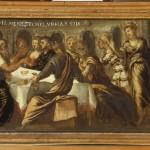Jacopo Tintoretto, Banchetto di Baltassar, olio su tavola, cm 26,5×79.