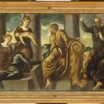 Jacopo Tintoretto, Giudizio di Salomone, olio su tavola, cm 26,5×79,5.