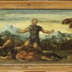 Jacopo Tintoretto, Sansone, olio su tavola, cm 26,5×79.