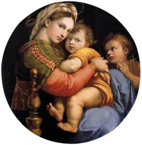 La Madonna della seggiola di Raffaello, 1514, olio su tela, diametro cm 71, conservata presso Palazzo Pitti a Firenze.
